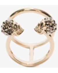 Alexander McQueen Gold Twin Skull Double Ring - Metallic