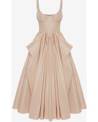 Alexander McQueen Pink Corset Bow Drape Dress