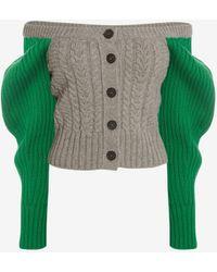 Alexander McQueen & Silver Bi-colour Cable Knit Cardigan - Gray
