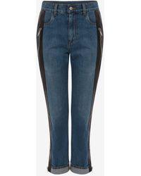 Alexander McQueen Hybrid Leather Panel Trouser - ブルー