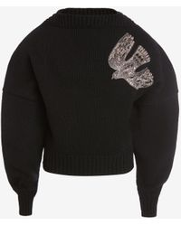 Alexander McQueen クリスタル 刺繍入り スラッシュ ネック ジャンパー - ブラック