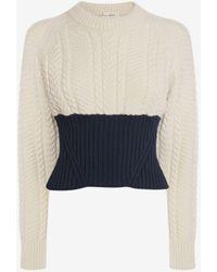Alexander McQueen Blue Bi-colour Cable Knit Sweater
