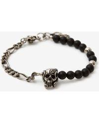 Alexander McQueen Bracelet Beads and Skull - Métallisé