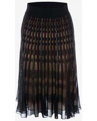 Alexander McQueen Metallic Check Knit Skirt - Black