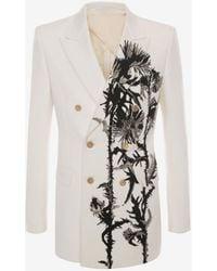 Alexander McQueen アザミ刺繍 ダブルブレストジャケット - ホワイト