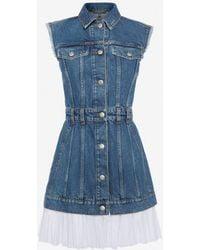 Alexander McQueen - Sleeveless Mini Denim Dress - Lyst