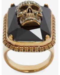 Alexander McQueen Jewelled Skull Ring - Metallic