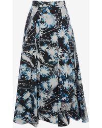 Alexander McQueen - Solarized Floral Asymmetric Midi Skirt - Lyst
