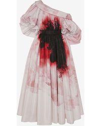 Alexander McQueen Dropped shoulder Anemone Print dress - Rosa