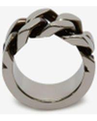 Alexander McQueen Silver Chain Ring - Metallic