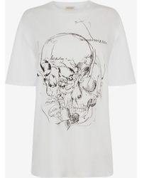 Alexander McQueen スケッチブック スカル Tシャツ - ホワイト