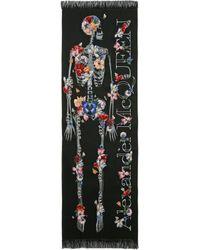 Alexander McQueen Skeleton Bloom Stole - ブラック