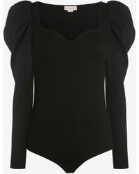 Alexander McQueen Combinaison en jersey à décolleté en cœur - Noir