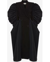 Alexander McQueen スプライス ドレープ コート - ブラック