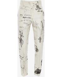 Alexander McQueen Sketchbook Printed Cigarette Pants - ホワイト