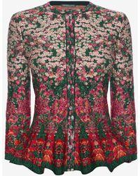 Alexander McQueen - Flowerbed Jacquard Knit Peplum Cardigan - Lyst