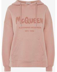 Alexander McQueen Mcqueen Graffiti Hooded Sweatshirt - ピンク
