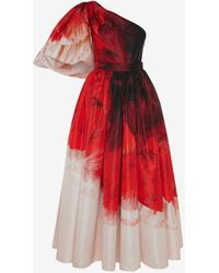 Alexander McQueen - Asymmetric Draped Sleeve Anemone Print Dress - Lyst