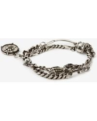 Alexander McQueen Safety Pin And Medallion Chain Bracelet - メタリック