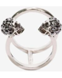 Alexander McQueen Twin Skull Double Ring - メタリック