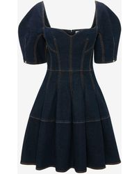 Alexander McQueen Cocoon Sleeve Denim Mini Dress - ブルー