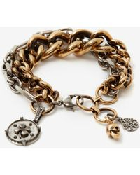 Alexander McQueen Multicoloured Medallion Chain Bracelet