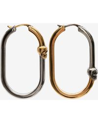 Alexander McQueen Bi-color Skull Hoop Earrings - メタリック