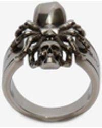 Alexander McQueen Anello Spider Skull - Metallizzato