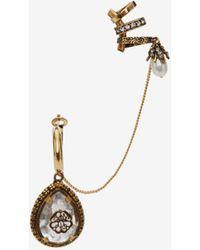 Alexander McQueen Bijou d'oreille avec breloque goutte et sceau - Métallisé