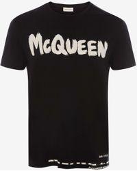 Alexander McQueen T-shirt S/S Graffiti nera - Nero