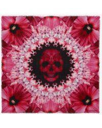 Alexander McQueen Paradise Skull Scarf - Pink