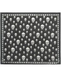 Alexander McQueen Classic Silk Blend Skull Scarf - ブラック