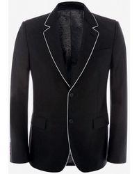 Alexander McQueen Veste en mélange léger de laine et mohair - Noir
