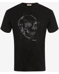 Alexander McQueen Pattern Skull Oversized T-shirt - ブラック