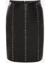 Alexander McQueen ステープルド レザー ミニスカート - ブラック