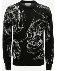 Alexander McQueen Painted Skulls Jacquard Jumper - Black