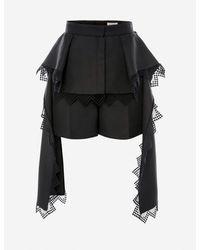 Alexander McQueen Peplum Lace Shorts - Black