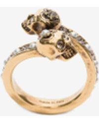 Alexander McQueen Wrap-around Skull Ring - メタリック