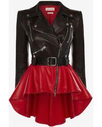Alexander McQueen Zweifarbige Schößchen-Jacke aus Leder - Schwarz