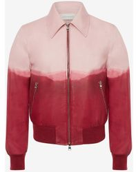 Alexander McQueen Dip Dye Leather Printed Bomber Jacket - ピンク