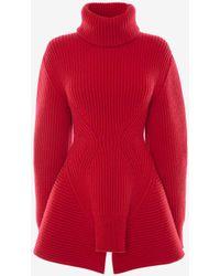 Alexander McQueen Red Engineered Sculpted Knit Sweater