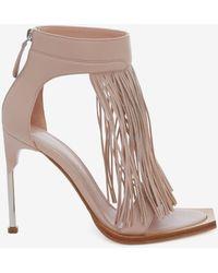 Alexander McQueen - Pin Heel Fringe Sandal - Lyst