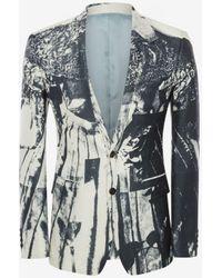 Alexander McQueen Jacke mit Trompe-l'œil-Print - Mehrfarbig