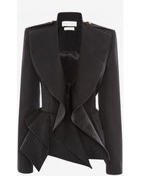 Alexander McQueen Draped Peplum Jacket - Black