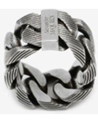 Alexander McQueen Textured Chain Ring - メタリック