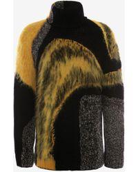 Alexander McQueen Abstract Intarsia Roll Neck Jumper - ブラック