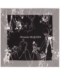 Alexander McQueen Foulard en soie imprimé danseuses - Noir