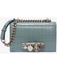 Alexander McQueen Mini Jewelled Satchel - ブルー