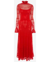 Alexander McQueen Crocheted Lace Paneled Midi Dress - Red