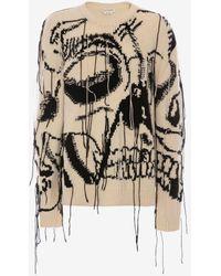 Alexander McQueen Strick-Pullover aus Kaschmir mit Skull-Intarsien - Schwarz